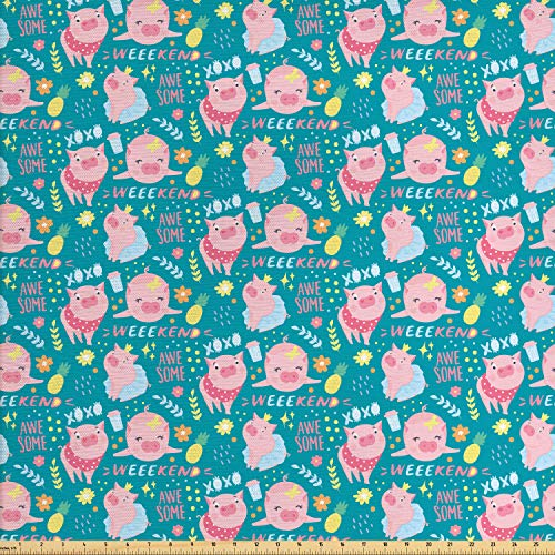 Ambesonne Piglet Fabric by The Yard, Continuous Pig Pineapples and Flowers Weekend XOXO Lettering Cartoon Print, Decorative Fabric for Upholstery and Home Accents, 1 Yard, Pink Blue