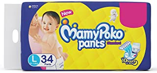 Mamypoko Diaper Pants Standard Style, Size Large, 9-14 Kg (34 Counts)