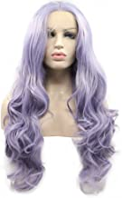 Pastel Lilac Lavender Purple Wig Mix Color Heat Resistant Long Synthetic Hair Natural Hairline Curly Wavy Wig Free Part Handmade Lace Front Wigs for Women Girls Cosplay Party Synthetic Wig 22inches