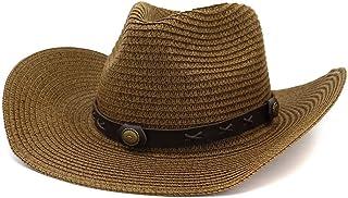 Fashion Hats, Caps,Elegant Hats, Natural Caps Summer Men's Women's Western Cowboy Hat Straw Sun Hat Roll Brim Feodra Hat Outdoor Beach Hat Sunscreen Sunhat (Color : Coffee, Size : 56-58CM)