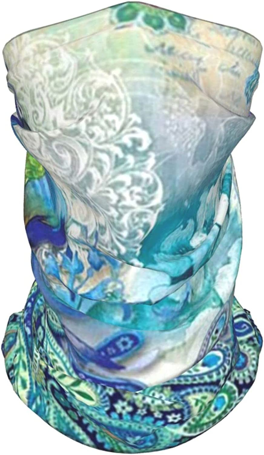 Peacock Neck Gaiter Multipurpose Headwear Ice Silk Mask Scarf Summer Cool Breathable Outdoor Sport 4 Pcs