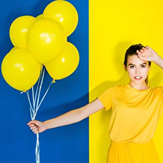 Pack of 100, 12 inches Yellow Party Balloons, Balloons Bulk, Balloons for Birthdays (Yellow)