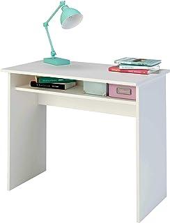 comprar comparacion Samblo Sora - Escritorio de Melamina de 90 cm de Ancho con Balda Fija, Madera, color Blanco
