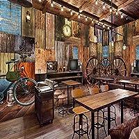 レトロな木製の車輪壁画壁紙レストランバーKTV粘着背景壁写真壁紙3Dステッカー-208cm(W)x146cm(H)