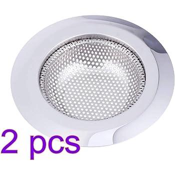 2 PCS Xinlie Filtro de Acero Inoxidable Tap/ón de Drenaje Colador de Drenaje Cesta de Ba/ño Tap/ón de Cocina Tap/ón de Acero Inoxidable Ducha de Cocina Filtro de Fregadero 2.76inch//7cm