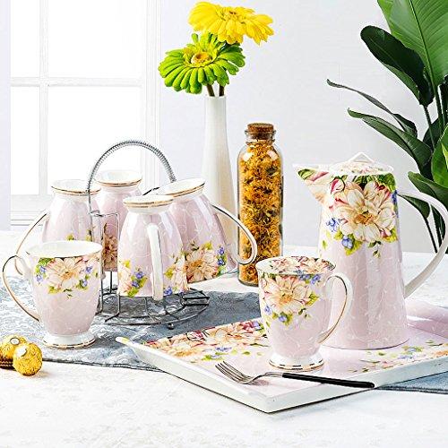 Set de taza de té casero de caldera de porcelana ( Color : Pink )