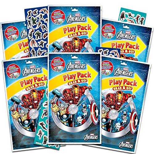 Marvel Avengers Party Favors Pack ~ Bundle of 6 Avengers Play Packs with Avengers Stickers, Avengers Coloring Books, and Crayons with Avengers Stickers (Avengers Party Supplies)