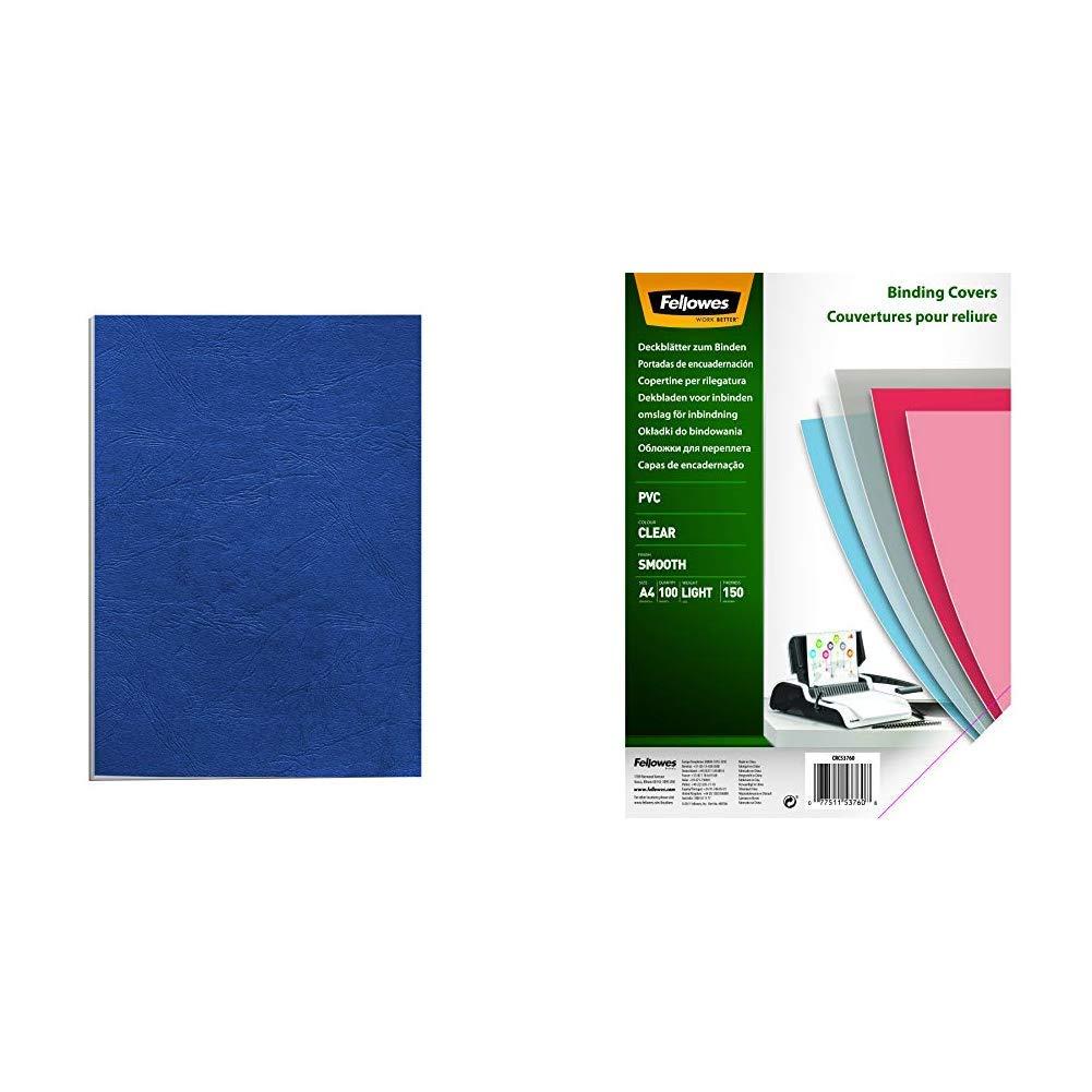 Apex 65011 Pack de 100 portadas cartulina imitación cuero A4, color azul + Fellowes Portadas para encuadernar de PVC transparente, formato A4, 150 micras, pack de 100: Amazon.es: Oficina y papelería
