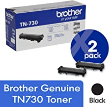 Brother Genuine TN730 2-Pack Standard Yield Black Toner Cartridge with Approximately 1,200 Page Yield/Cartridge
