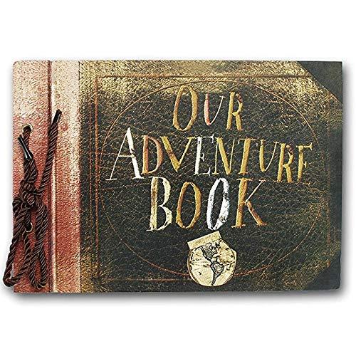 JJIAO Álbum de Fotos Vintage 20 Unids 40 Páginas Tarjeta de Hojas de Papel Kraft Our My Adventure Book Album Hecho a Mano Pixar DIY Foto Foto Scrapbook