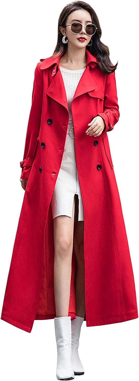 ebossy Women's Double Breasted Duster Kansas City Mall Coat Elegant Trench Leng Full Slim