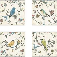 CoasterStone AS10077 Bird's Gem Absorbent Coasters, 4-1/4-Inch, Set of 4 [並行輸入品]