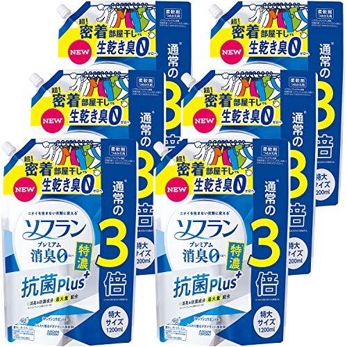 【ケース販売 大容量】ソフラン プレミアム消臭 特濃抗菌プラス リフレッシュサボンの香り 柔軟剤 詰め替え 特大1200ml×6個セット
