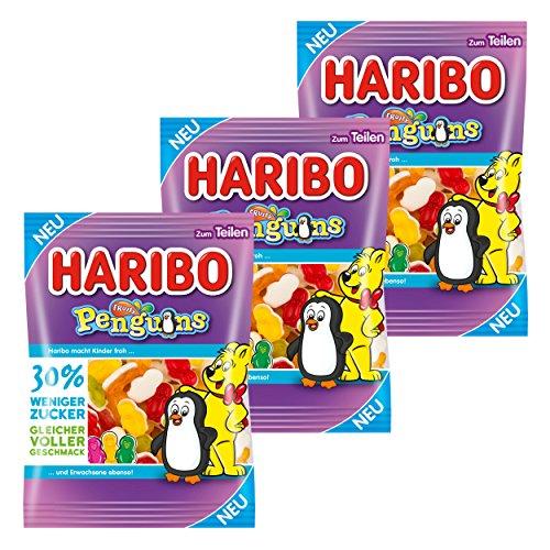 Haribo Penguins, 3er Set, Fruchtgummi mit Schaumzucker, Weingummi, Frucht Gummi, Gummibärchen, Tüte