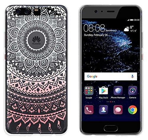 yayago Hülle für Huawei P10 Plus Silikon Schutzhülle Hülle Hülle Backcover Tattoo Ornament Mandala Design transparent Tasche