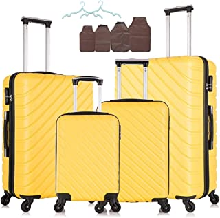 Fridtrip 4 Pieces Luggage Sets Hardshell Suitcase Carry On Luggage With Spinner Wheels (4 PCS ABS, Yellow)