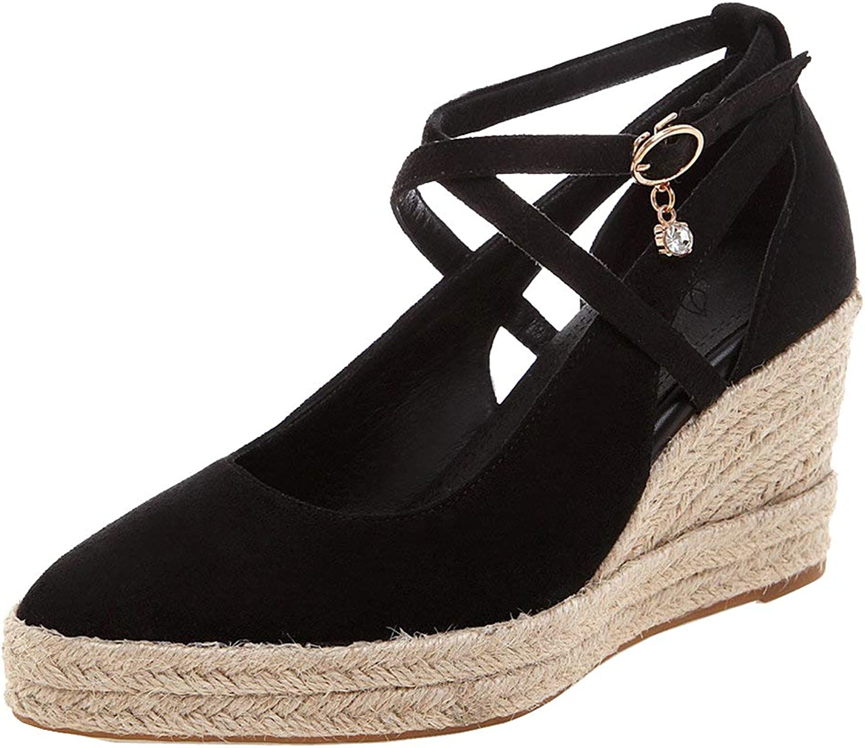 KIKIVA Women Criss Cross Strap Wedges Pumps Pointy Platform Heels Court shoes