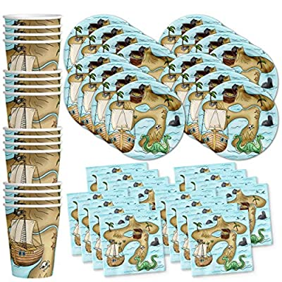 Pirate Treasure Map Birthday Party Supplies Set Plates Napkins Cups Tableware Kit for 16