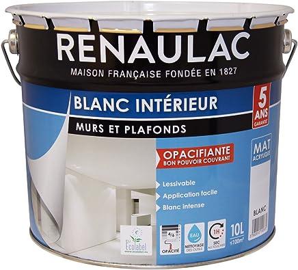 Renaulac Peinture Intérieur Murs U0026 Plafonds Bicouche Acrylique Blanc Mat  10L   100m²