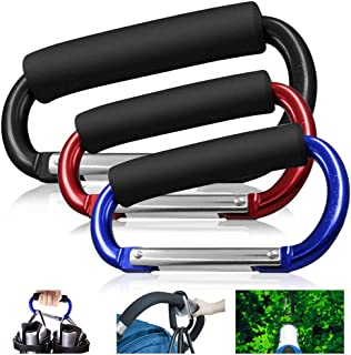 XDLINK Grocery Bag Holder Handle Carrier Tool, Grip Shopping Plastic Bags, Handbag, Tote, Handy Extra-Large D-Shape Carabiner Hook, Stroller Accessories, with Soft Foam Grip