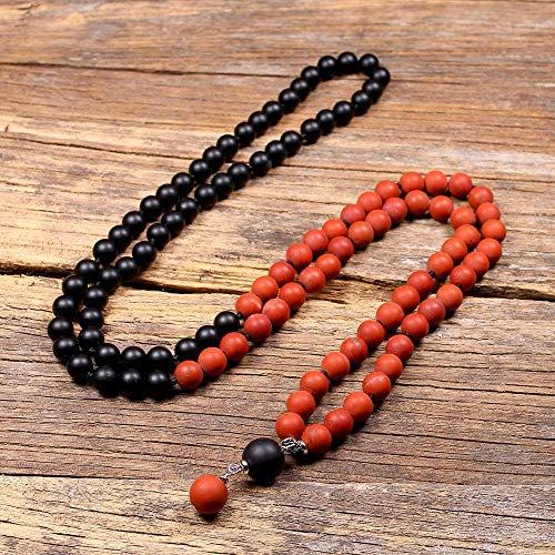 HMANE 108 Japa Mala Collar de Cuentas para Hombres Rojos Jajo Borla Cuentas de Piedra Yoga meditación Collares de oración Espiritual