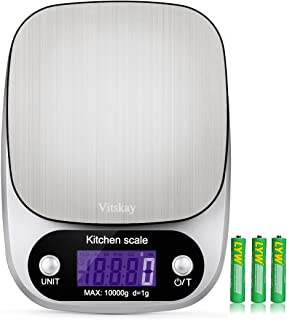 Vitskay Digital Kitchen Scale,Food Scale,Multifunction, 1g/0.002lbs to 22lbs,Stainless Steel,Back-Lit LCD Display,Silver(Batteries Included)