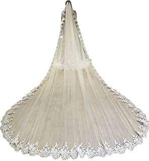 Cathedral Wedding Veils for Bride 1 Tier Full Lace Edge with Comb