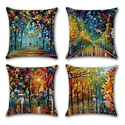 Gspirit 4 Pack Vistoso Pintura Hojas Algodón Lino Throw Pillow Case Funda de Almohada para Cojín 45x45 cm