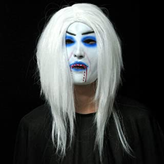 QYLOZ Halloween Horror Party Cosplay Mask, Latex Creepy Scary Toothy Zombie Ghost Mask Scary Emulsion Skin with Long Black Hair (Color : D)