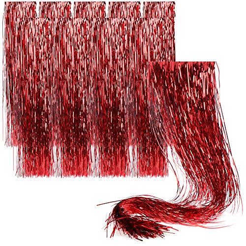 com-four® 10x Lametta für Weihnachten - Lametta Girlande in rot - Weihnachtsschmuck für den Christbaum - 50 cm (rot - 10 Stück)