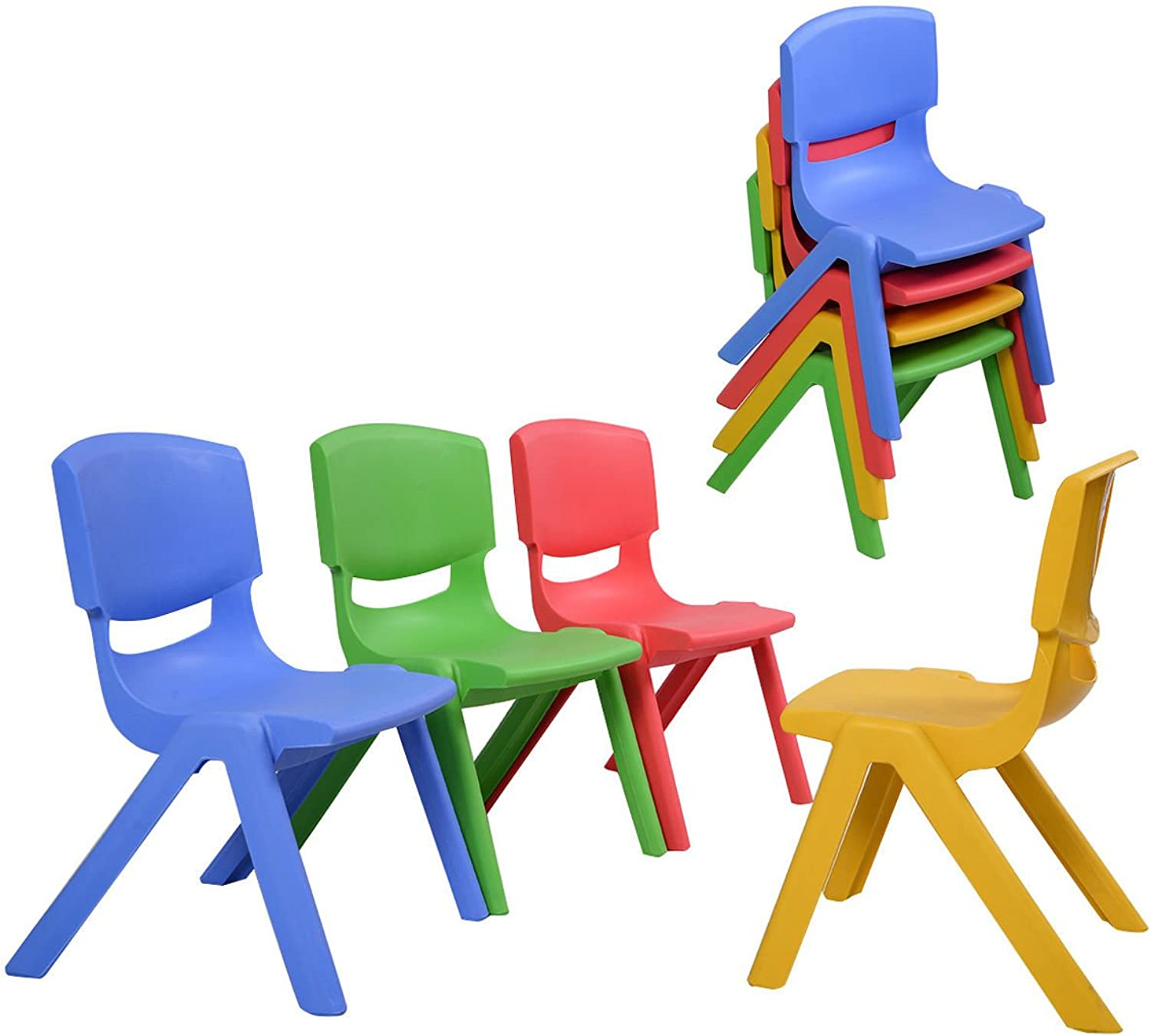 Costzon Kids Chairs, Stackable Plastic Learn and Play Chair for School Home Play Room, colorful Chairs for Toddlers, Boys, Girls, Set of 2