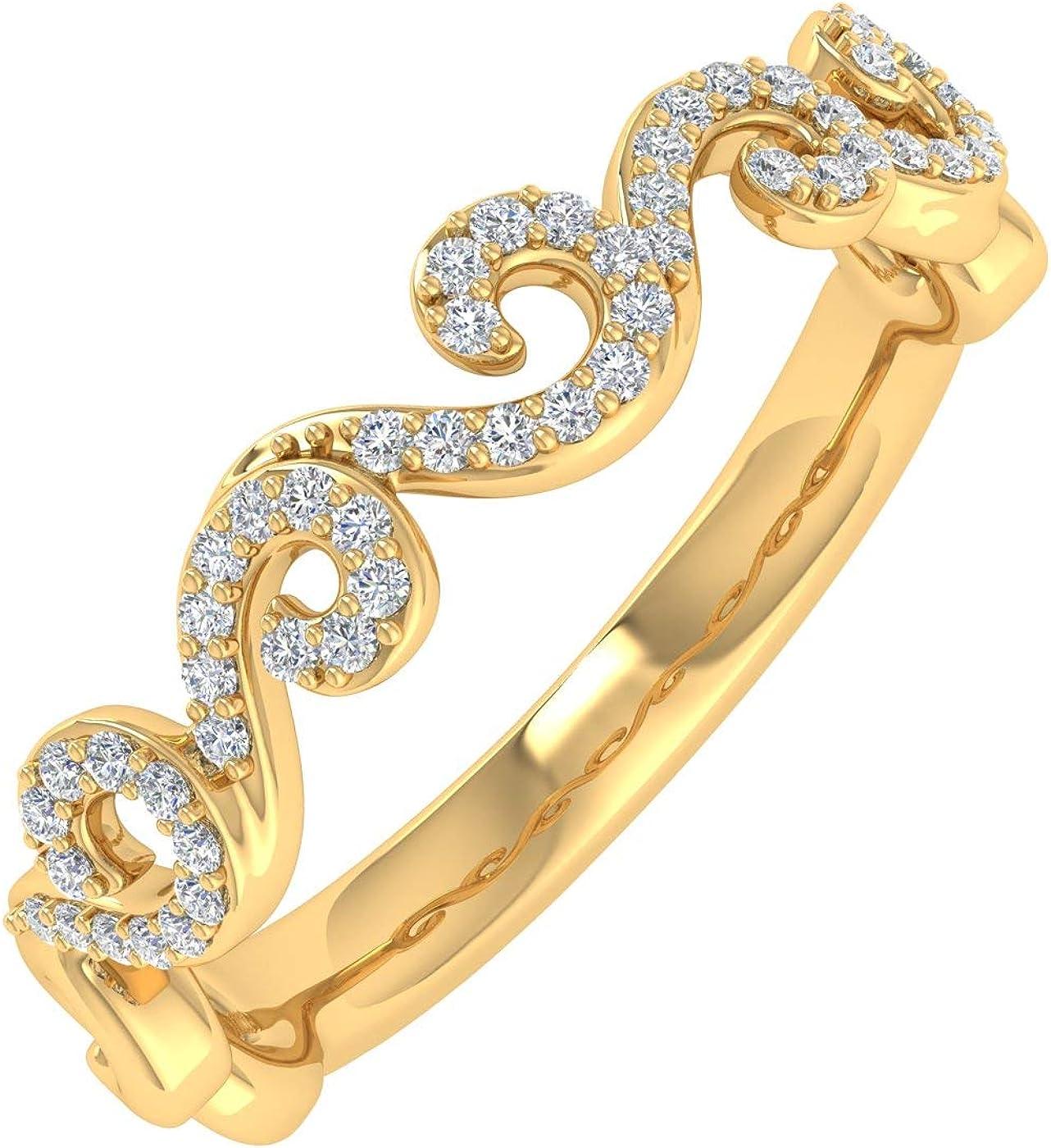 Superlatite 0.15 Carat Diamond Philadelphia Mall Wave Shaped Wedding Band 10K Gold in Ring