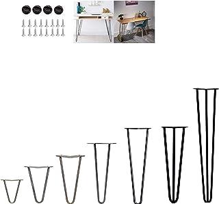 4 patas de horquilla para el cabello, patas de mesa de metal resistentes para bricolaje, patas de mesa, altura de mesa estándar estable, 10 cm a 72 cm, negro