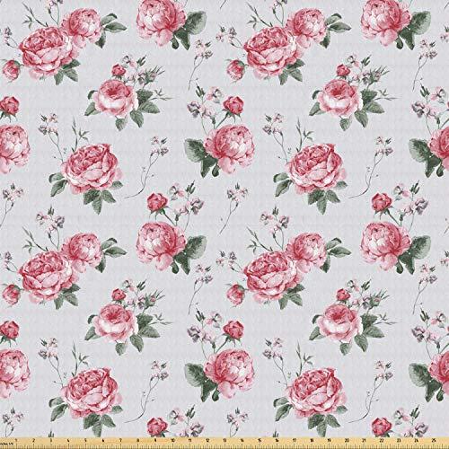 ABAKUHAUS Rosa Tela por Metro, Flor rosado de la flora Inglés, Tela Elastizada Estampada para Costura Arte y Bricolaje, 1 Metro, Rosa Verde Reseda