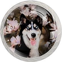 Lade Handgrepen Trek Ronde Kristal Glas Kabinet Knoppen Keuken Kabinet Handvat,Husky Hond Lente Blossom Roze Bloem