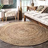 Fernish Décor Handwoven Jute Area Rug, Natural Yarn, Rustic Vintage Braided Reversible Rug (5 Feet (Round))