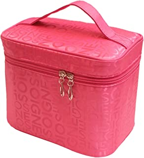 Superior quality Rose red Cosmetic Bag, Handy Pouch Clutch Travel Makeup, Make Up Bags Accessories, Samtour- Professional Bag, Beauty Artist Storage Brush Box with Shoulder, Tools Organizer Bag Case.