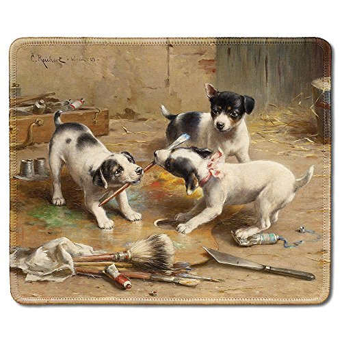 dealzEpic - Art Mousepad - Natural Rubber Mouse Pad with Famous Fine Art Painting of The Painting Controversy (Dogs Fight for Paint Brush) by Carl Reichert - Stitched Edges - 9.5x7.9 inches