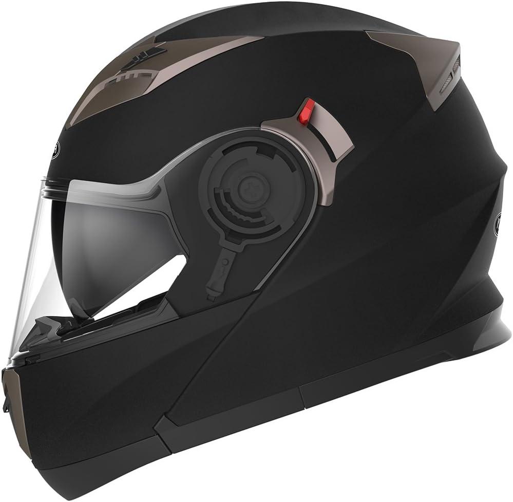 Casco Moto Modular ECE Homologado - YEMA YM-925 Casco de Moto Integral Scooter para Mujer Hombre Adultos con Doble Visera