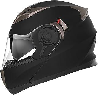 Casco Moto Modular ECE Homologado - YEMA YM-925 Casco de Moto Integral Scooter para Mujer Hombre Adultos con Doble Visera-Negro Mate-S