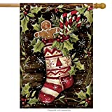 """Hung with Care"" Christmas Stocking with Gingerbread Man 28""x40"" House Flag"