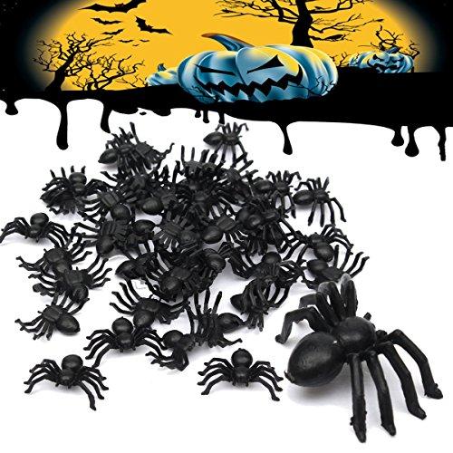 Tutoy 50pcs Halloween Plastique araignée araignée drôle Blague Jouet décoration