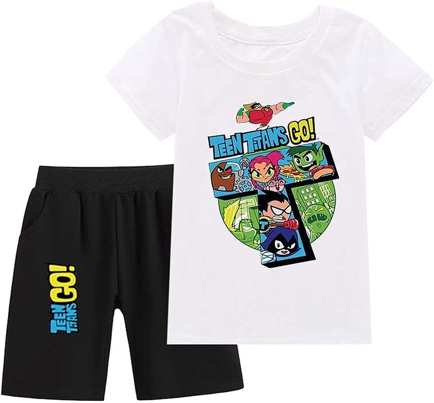 Teen Titans Go! Boys and Girls Clothes Cotton Short-Sleeved T-Shirts and Shorts Summer Clothing Suits Shorts Suits (White,110)