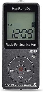 FM/AM スポーツラジオ ポータブルラジオ コンパクト DC充電USB充電式ラジオ 通勤ラジオ 屋外活動 軽量 携帯便利 (ブラック)