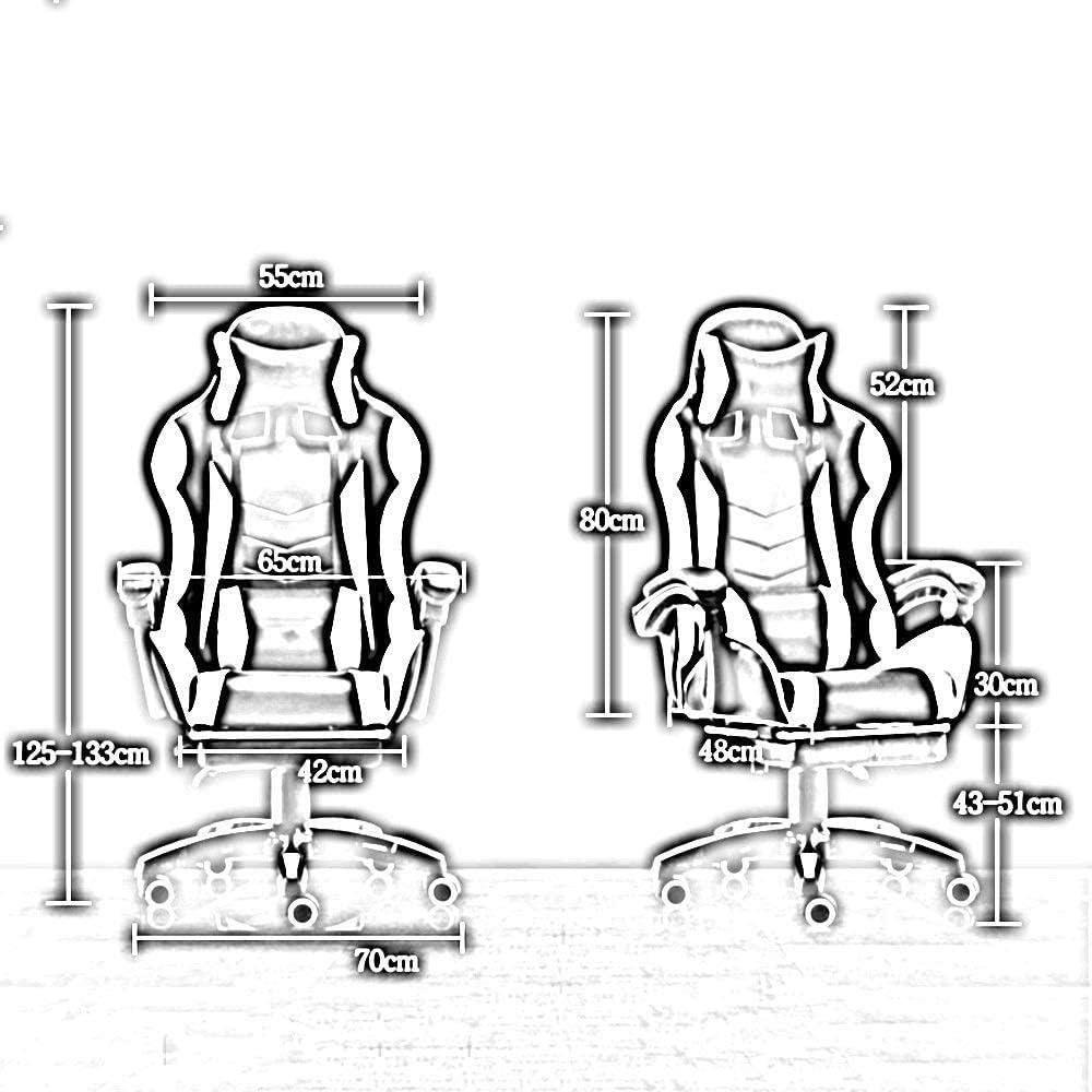 Chaise De Bureau Chaise De Jeu Chaise De Sport Électronique À Dossier Haut avec Repose-Pieds Chaise De Jeu Vidéo De Style Course - Noir Or