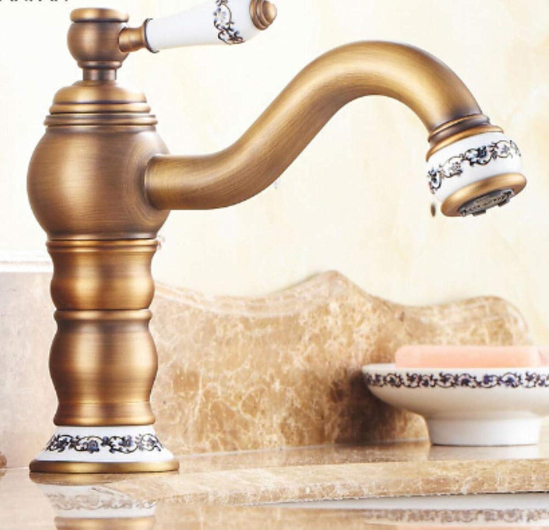 Bathroom Sink Tap Retro Style Deck Mounted Long Neck redation Bathroom Sink Basin Faucet Antique Brass Single Handle Sink Faucet