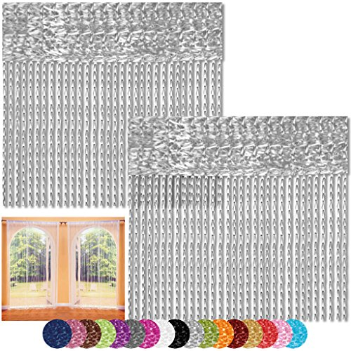 Bestlivings Fadenvorhang 2er Pack Gardine Raumteiler, Auswahl: 140x240 Silber - hellgrau