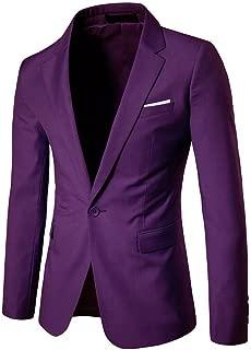 Men's Casual Slim One Button Solid Blazer Suit Jacket