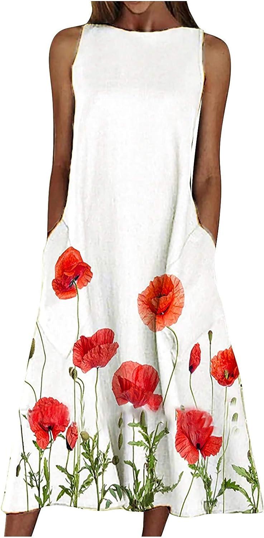 Women Midi Long Dress Floral Print Graphic Shirt Dresses Sleeveless O Neck Casual Loose Tank Dress with Pocket