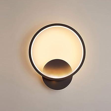 Senqiu Applique Murale LED Interieur 12w, Lampe Murale Rond Noire, Eclairage pour Allée Couloir Chambre Salon Escalier, 3000k 845LM Blanc Chaud 22.5*19*5.5CM